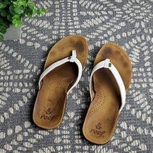 Reef white leather flip flops
